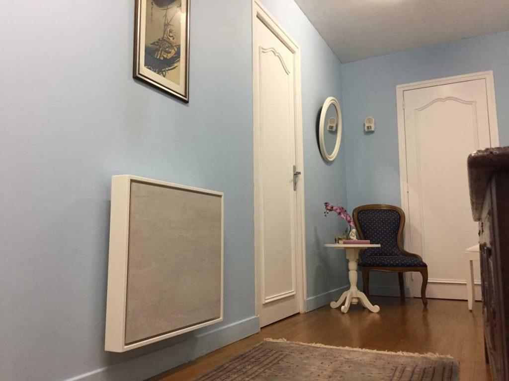 radiateur electrique a inertie decoratif design eternity, 1000w, format economique, couleur gris, 60x65cm, maison appartement