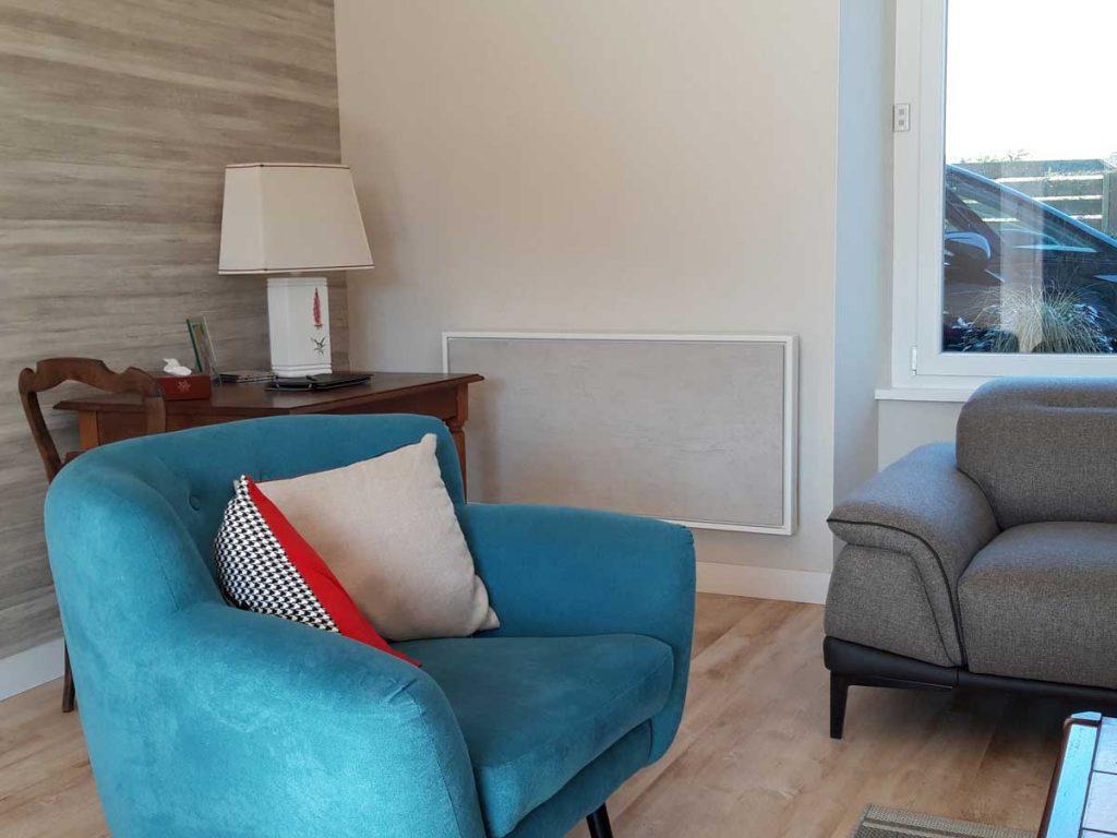 radiateur electrique a inertie decoratif design eternity, 2000w, horizontal, couleur gris clair, 60x120cm, salon maison appartement