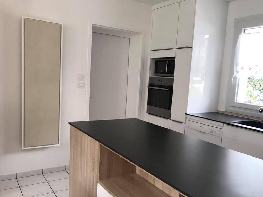 radiateur electrique a inertie decoratif design eternity, 1500w, vertical, couleur gris, 155x45cm, cuisine maison appartement