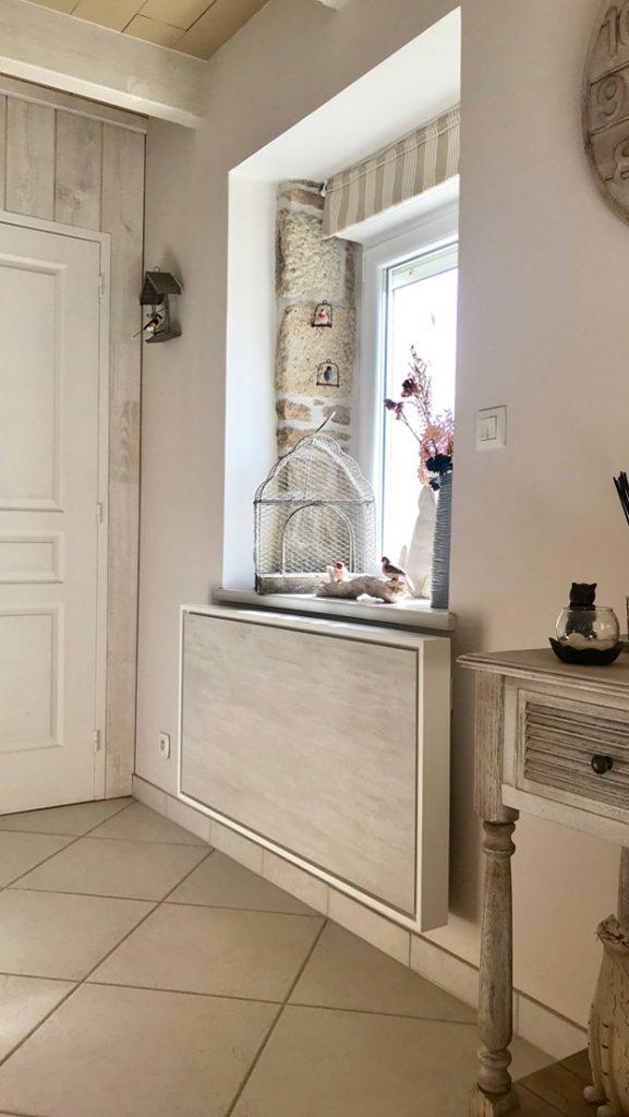 radiateur electrique a inertie decoratif design eternity, 2000w, vertical, couleur gris clair, 60x120cm, salon maison appartement