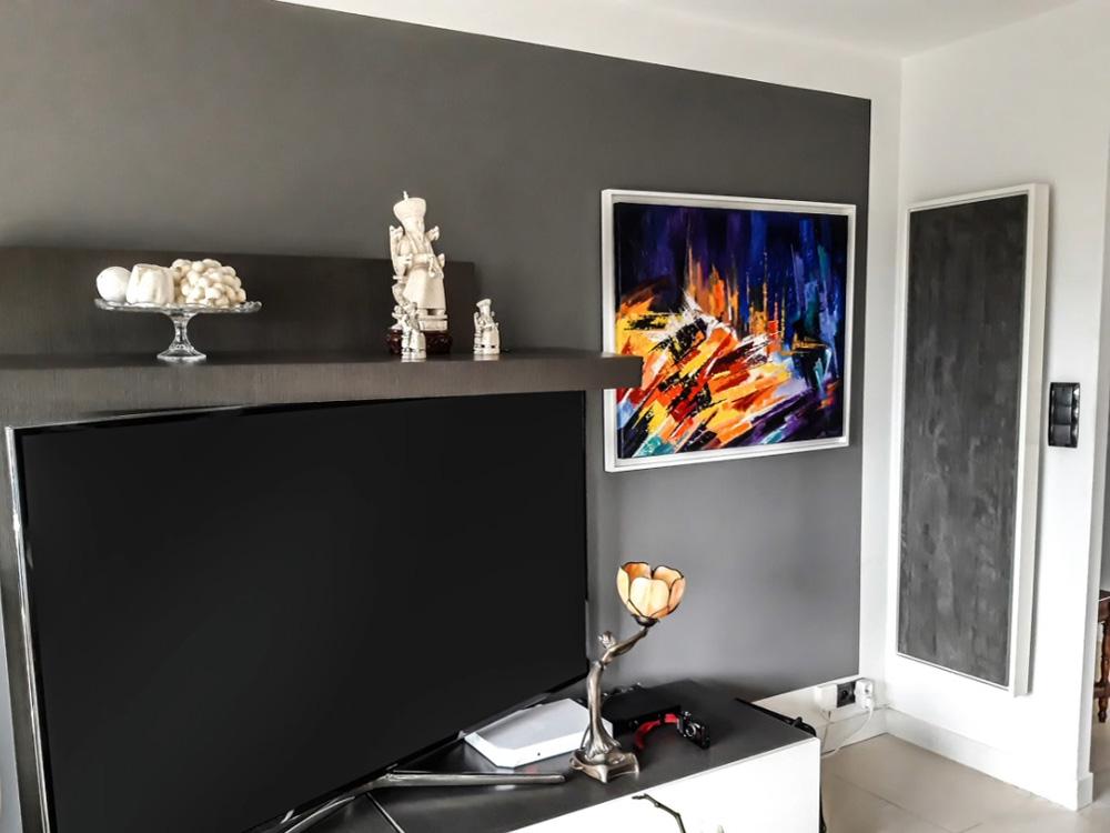 radiateur electrique a inertie decoratif design eternity, 2000w, vertical, couleur anthracite, 155x60cm, salon tv maison appartement