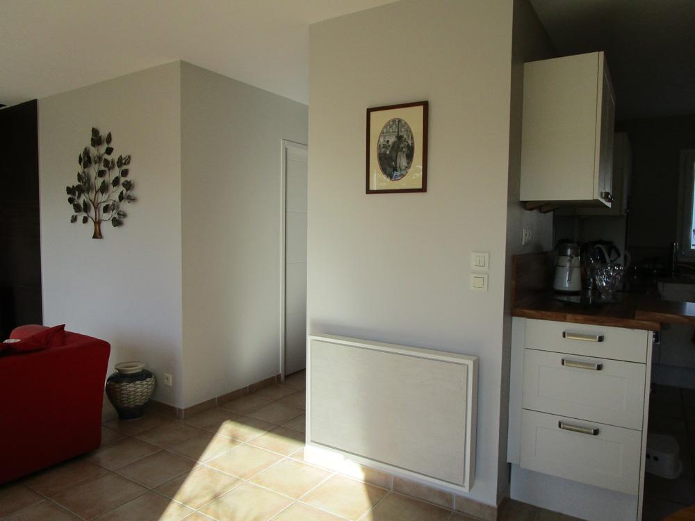radiateur electrique a inertie decoratif design eternity, 1500w, horizontal, couleur beige, 60x90cm, salon maison appartement