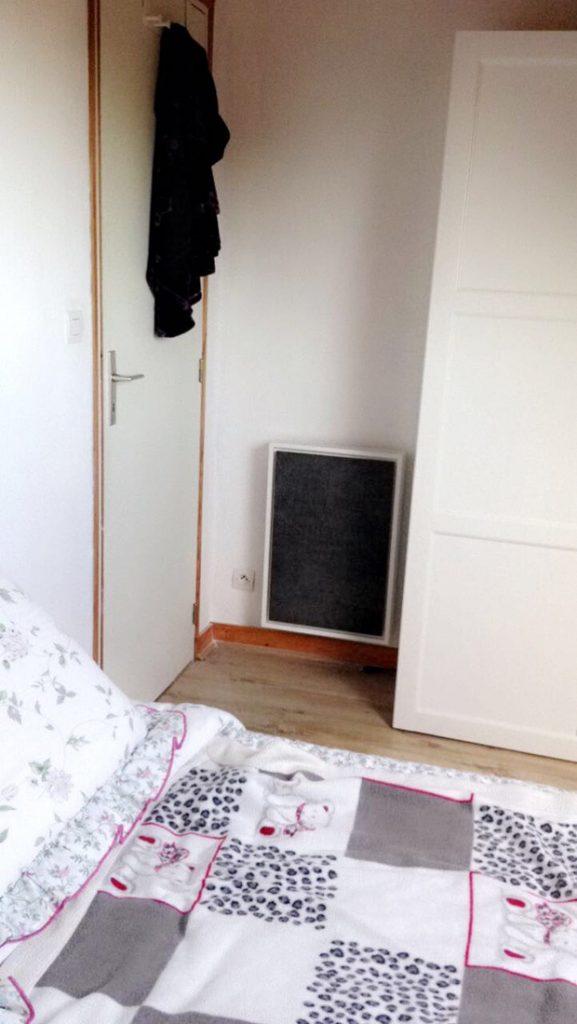 radiateur electrique a inertie decoratif design eternity, 1000w, format economique, couleur gris anthracite, 65x45cm, chambre maison appartement