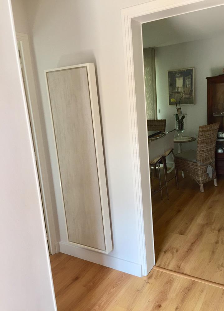 radiateur electrique a inertie decoratif design eternity, 1500w, vertical, couleur sable clair, 155x45cm, maison appartement
