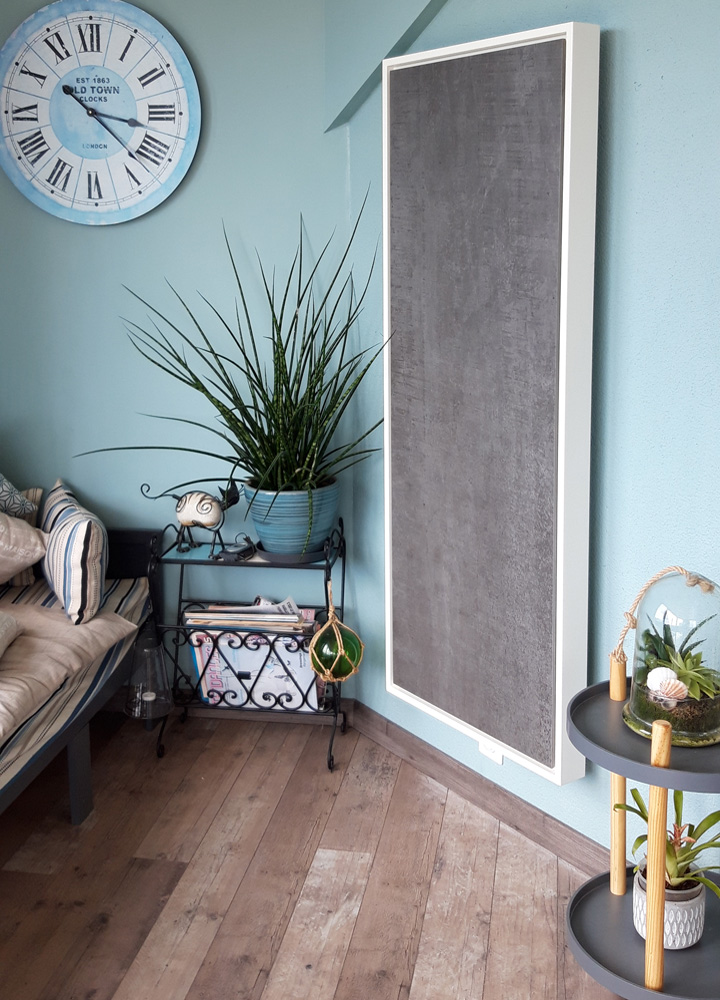 radiateur electrique a inertie decoratif design eternity, 2400w, vertical, couleur anthracite, 155x60cm, salon maison