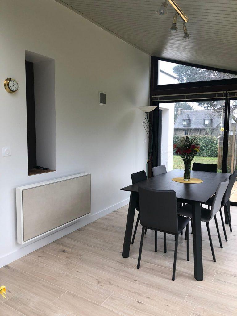 radiateur electrique a inertie decoratif design eternity, 2000w, horizontal, couleur sable, 60x120cm, veranda